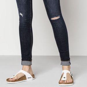New Birkenstock Gizeh White Slip On Sandals